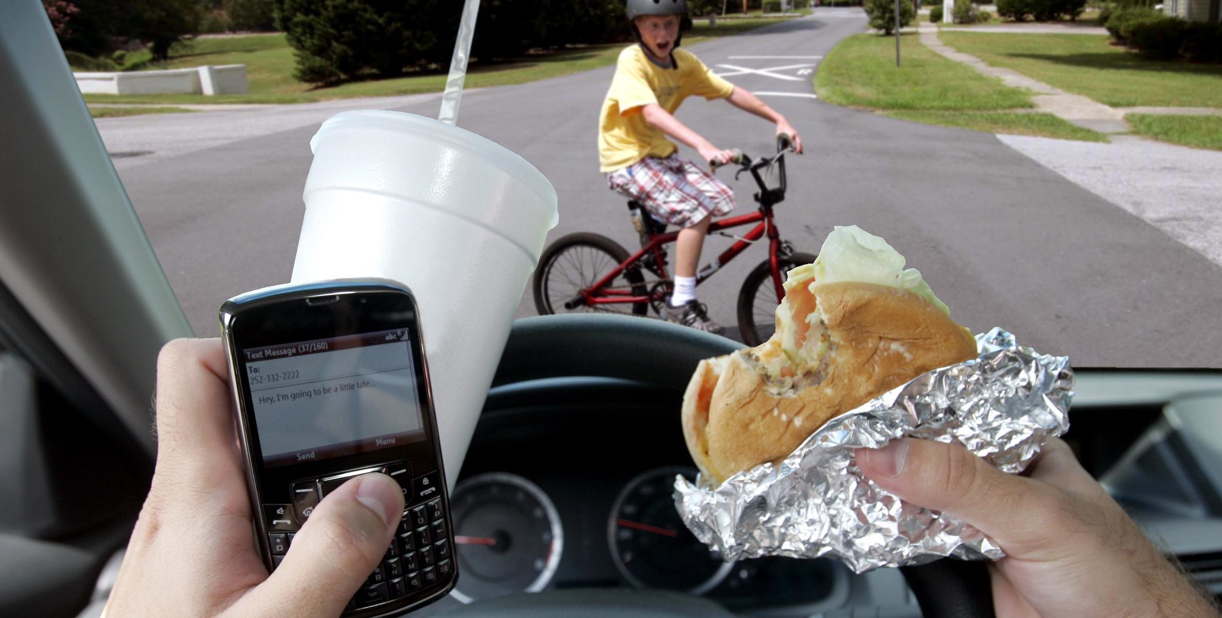 distracted driving - eating, drinking, cell phone