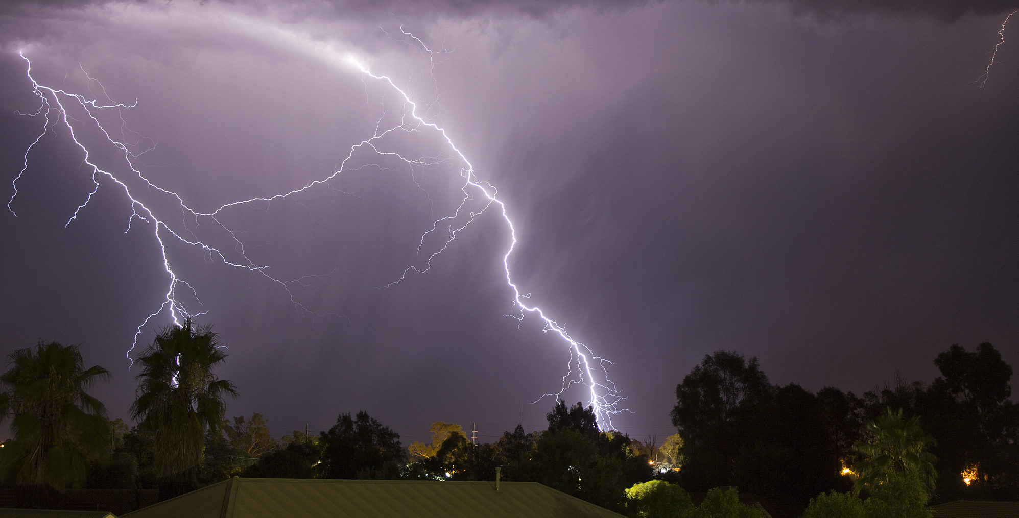 lightning hitting houses